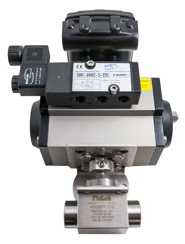 Actuated ball valve assembly with Solenoid