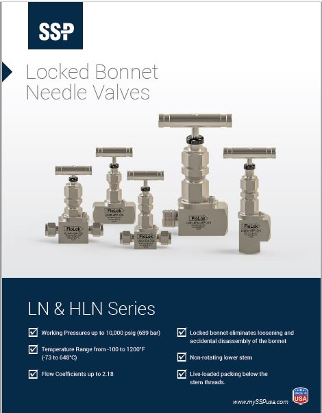 Needle valve for severe service applications up to 10000 psig.